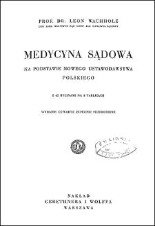 Medycyna sądowa : na podstawie nowego ustawodawstwa polskiego