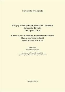 Klerycy z ziem polskich, litewskich i pruskich święceni w Rzymie (XVI – pocz. XX w.)