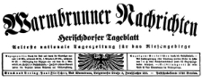 Warmbrunner Nachrichten. Herischdorfer Tageblatt 1934-11-29 Jg. 50 Nr 278