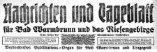 Nachrichten und Tageblatt für Bad Warmbrunn und das Riesengebirge. Neue Folge der Warmbrunner Nachrichten 1920-03-27 Jg. 38 Nr 74