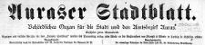 Auraser Stadtblatt. Behördliches Organ für die Stadt und den Amstbezirk Auras. 1922-01-01 [Jg. 17] Nr 1
