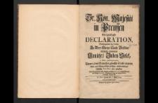 Sr. Kön. Maj. in Preussen [...] Declaration, Welchergestalt das bisher In [...] Breszlau überhand genommene Unnützes Juden-Volck [...]