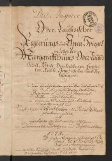Des Ober-Lausitzischen Regierungs- und Ehren-Spiegels. Band I