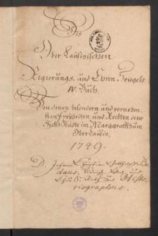 Des Ober-Lausitzischen Regierungs- und Ehren-Spiegels. Band IV