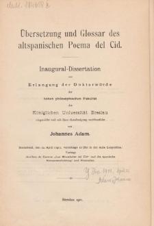 Übersetzung und Glossar des altspanischen Poema del Cid.