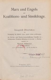 Marx und Engels zur Koalitions- und Streikfrage.