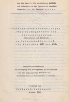 Statistische Aufstellungen über die Ergabnisse der Blutuntersuchung (Blutgruppen und Faktoren) in Vaterschaftsprozeß für die Jahre 1935 bis 1941.