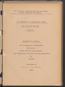 Die Änderungen der alimentären Anämien von 1915-1940 und ihre Ursachen.