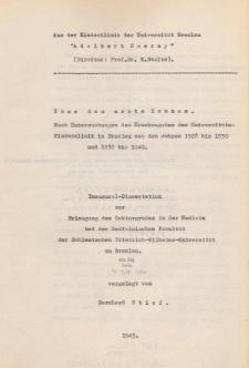 Über das erste Zahnen : nach Untersuchungen des Krankengutes der Universitäts-Kinderklinik in Breslau aus den Jahren 1928 bis 1930 und 1938 bis 1940