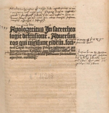 Apologeticus in sacrae theologiae defensionem