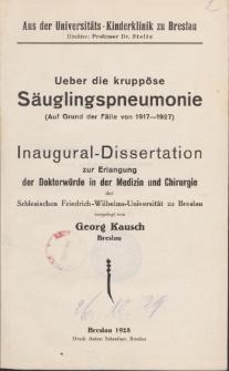 Ueber die kruppöse Säuglingspneumonie : (auf Grund der Fälle von 1917-1927).
