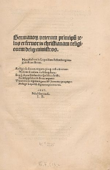Germanorum veterum principum zelus et fervor in christianam religionem Deique ministros