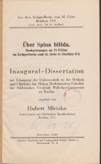 Über Spina bifida : Beobachtungen an 28 Fällen im Krüppelheim zum hl. Geist in Beuthen O/S.