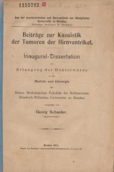Beiträge zur Kasuistik der Tumoren der Hirnventrikel.