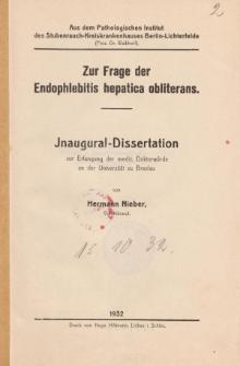 Zur Frage der Endophlebitis hepatica obliterans.