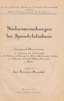 Nachuntersuchungen bei Spondylolisthesis.