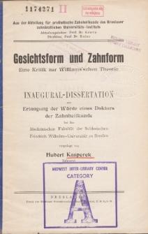 Gesichtsform und Zahnform : eine Kritik zur Williams'schen Theorie.
