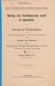 Beitrag zum Pseudomyxoma ovarii et appendicis.