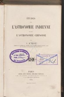 Études sur l'astronomie Indienne et sur l'astronomie Chinoise