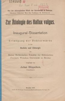 Zur Ätiologie des Hallux valgus.
