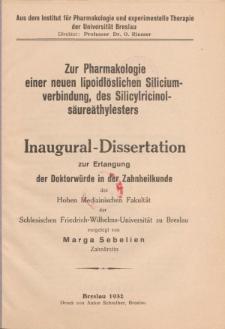 Zur Pharmakologie einer neuen lipoidlöslichen Siliciumverbindung, des Silicylricinolsäureäthylesters.