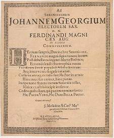 Ad Serenissimum Johannem Georgium Electorem Sax. D. N. Ferdinandi Magni Cæs. Aug. In Elysiis Commissarium / J. Melideus
