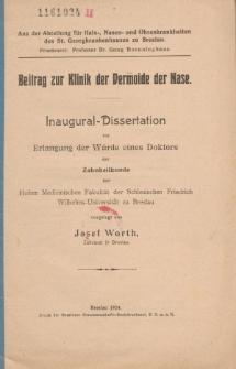 Beitrag zur Klinik der Dermoide der Nase.