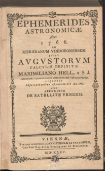 Ephemerides AstronomicÆ Anni 1766
