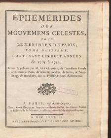 Éphémérides des Mouvements Célestes, de1785 à 1792