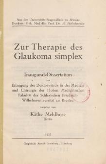 Zur Therapie des Glaukoma simplex.