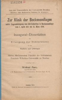 Zur Klinik der Beckenendlagen unter Zugrundelegung von 250 Geburten in Beckenendlage vom 1. April 1911 bis 31. März 1919.