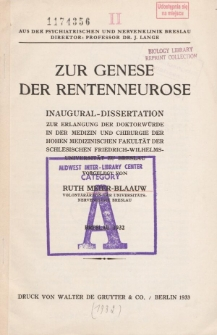 Zur Genese der Rentenneurose.