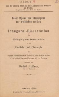 Ueber Myome und Fibromyome der weiblichen urethra.