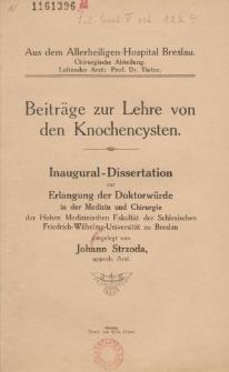 Beiträge zur Lehre von den Knochencysten.