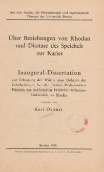 Über Beziehungen von Rhodan und Diastase des Speichels zur Karies