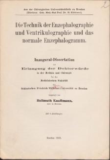 Die Technik der Enzephalographie und Ventrikulographie und das normale Enzephalogramm