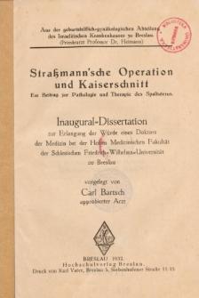 Straßmann'sche Operation und Kaiserschnitt : ein Beitrag zur Pathologie und Therapie des Spaltuterus