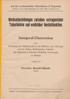 Wechselbeziehungen zwischen extragenitaler Tuberkulose und weiblicher Genitalfunktion.