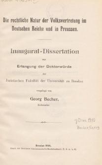 Die rechtliche Natur der Volksvertretung im Deutschen Reiche und in Preussen