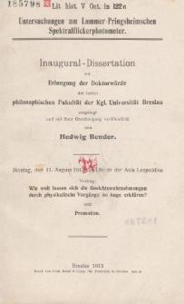 Untersuchungen am Lummer-Pringsheimschen Spektralflickerphotometer
