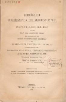 Beiträge zur Serodiagnostik des Abdominaltyphus.