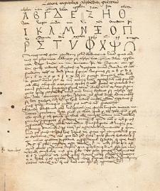 [Rękopis: Litterae capitales alphabeti graecorum]