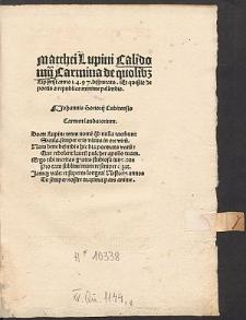 Carmina de quolibet Lipsiensi anno 1497 disputato et quaestio de poetis a republica minime pellendis.