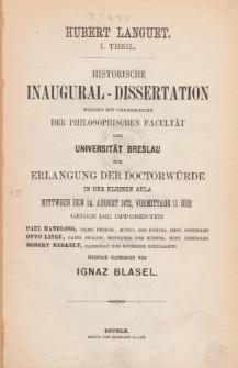 Hubert Languet. T. 1.