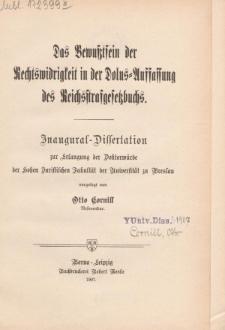 Das Bewußtsein der Rechtswidrigkeit in der Dolus-Auffassung des Reichsstrafgesetzbuchs