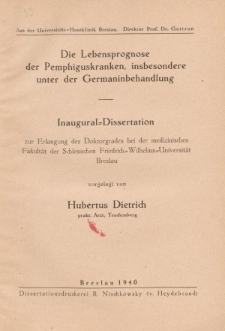 Die Lebensprognose der Pemphiguskranken, insbesondere unter der Germaninbehandlung