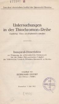 Untersuchungen in der Thiochromon-Reihe : (Anhang: Über 4.6-Diphenyl-cumalin)