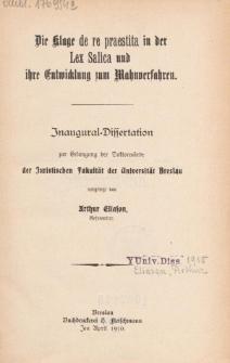 Die Klage de re praestita in der Lex Salica und ihre Entwicklung zum Mahnverfahren