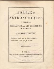 Tables Astronomiques publiées par le Bureau des Longitudes de France