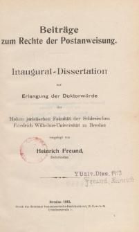 Beiträge zum Rechte der Postanweisung